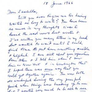 Autograph letter, signed from William Jay Smith to Isabella Gardner, June 18, 1966