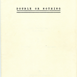Uncorrected proof of <em>Double or Nothing</em> by Raymond Federman