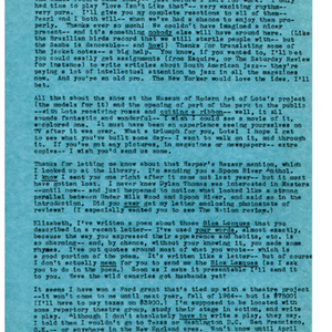 Typed letter [carbon] from May Swenson to Elizabeth Bishop, September 25, 1963