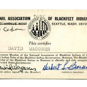 David Wagoner's National Association of Blackfeet Indians identification card