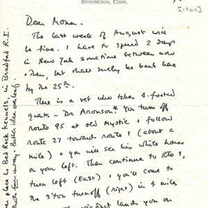 Autograph letter, signed from James Merrill to Mona Van Duyn, August 5, 1964