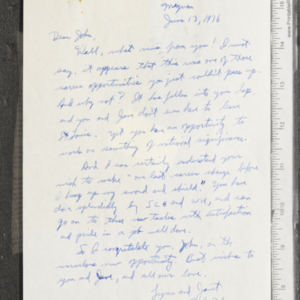 Letter from Lynn and Janet to John Ervin