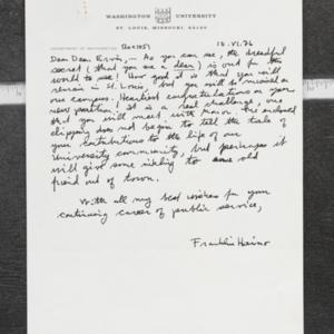 Letter from Franklin H. to Dean Ervin
