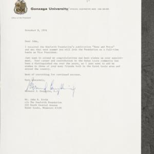 Letter from Bernard J. Coughlin to Dr. John B.Ervin