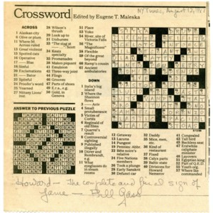 Autograph note from William H. Gass to Howard Nemerov written on a <em>New York Times</em> crossword puzzle, August 12, 1988