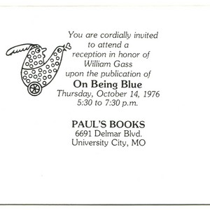 <em>On Being Blue</em> - Invitation, Paul's Books