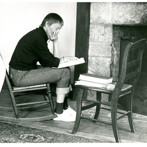 May Swenson at MacDowell Colony, the oldest artists' colony in the United States in Peterborough, New Hampshire, September 1957