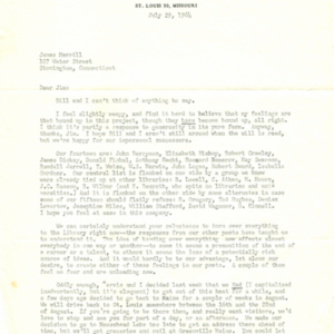 Typed letter, signed from Mona Van Duyn to James Merrill, July 1, 1964