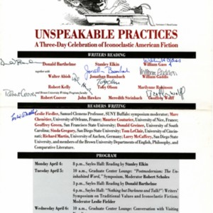 """Unspeakable Practices: A Three-Day Celebration of Iconoclastic American Fiction"""