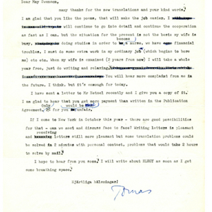 Typed letter, signed from Tomas Transtromer to May Swenson, April 2, 1971