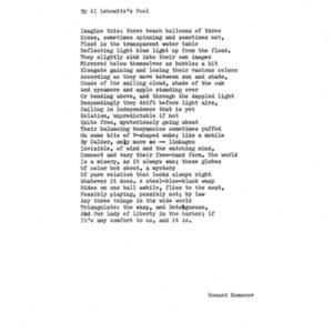 """By Al Lebowitz's Pool"" by Howard Nemerov."