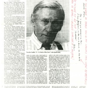 """William Gaddis's Law-Crazy America"" by John Schwartz from the<em> International Herald Tribune</em>, February 9, 1994"