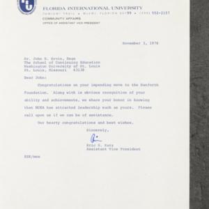 Letter from Eric S. Katz to John B. Ervin, Dean