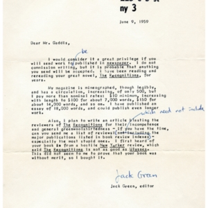 Typed letter, signed from Jack Green to William Gaddis, June 9, 1959