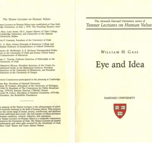 """Eye and Idea"" - Harvard University Tanner Lecture on Human Values"