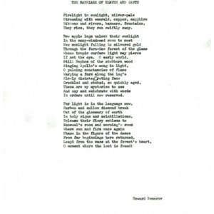 """""""The Marriage of Heaven and Earth"""" by Howard Nemerov."""