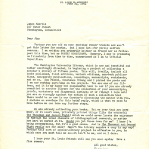 Typed letter, signed from Mona Van Duyn to James Merrill, June 24, 1964