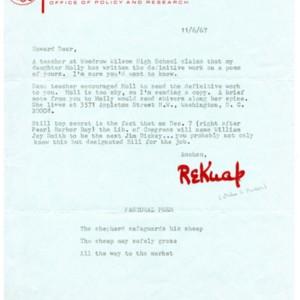 Typed letter, signed from John Pauker to Howard Nemerov, November 6, 1967