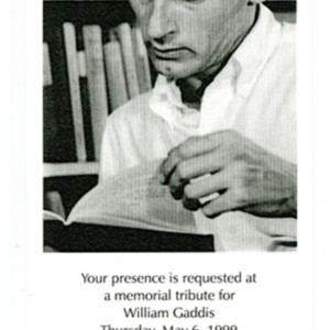 Invitation to a Memorial Tribute for William Gaddis