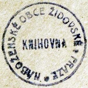 Bookstamp of Náboženské obce Židovské Knihovna