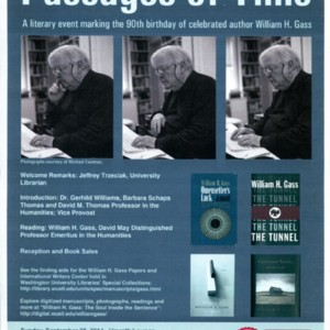 """Passages of Time: A Literary Event Marking the 90th Birthday of Celebrated Author William H. Gass"""