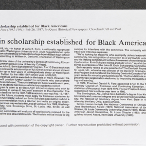"""Ervin scholarship established for Black Americans"""