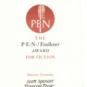 Nomination certificate for the PEN/Faulkner Award for Fiction for <em>Van Gogh's Room at Arles</em> by Stanley Elkin