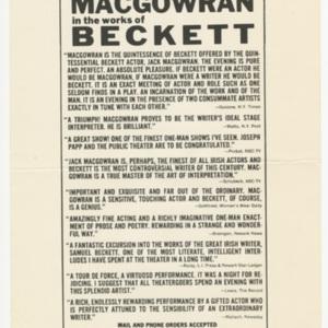 <em>Jack MacGowran in the works of Samuel Beckett </em>advertisement