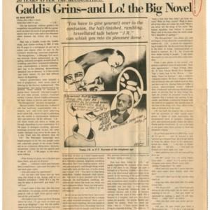 """""""Gaddis Grins-and Lo! the Big Novel"""" by Bob Miner from <em>The Village Voice</em>, October 13, 1975."""
