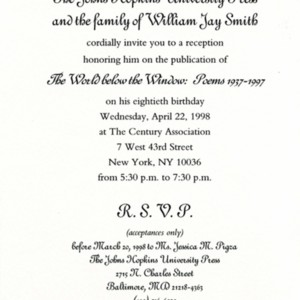 Invitation to celebrate the publication of <em>The World Below the Window</em> and William Jay Smith's 80th birthday