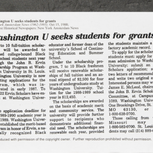 """Washington U seeks students for grants"""