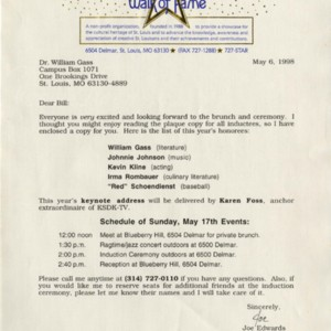 Typed letter from Joe Edwards to William H. Gass, May 6, 1998, St. Louis Walk of Fame