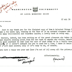 Typed letter, signed from Howard Nemerov to May Swenson, December 27, 1978