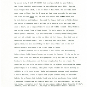 May Swenson's recollection of meeting Sylvia Plath at Yaddo in 1959