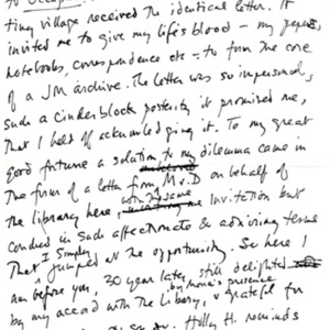 "Notes for James Merrill's reading during ""James Merrill: A Life in Writing"""