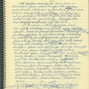 Autograph draft of the Thurston's Christmas letter written in a spiral notebook by Mona Van Duyn, 1976