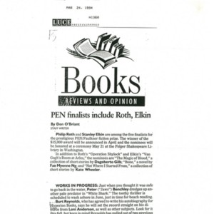 """""""PEN Finalists Include Roth, Elkin"""" by Don O'Briant from <em>The Atlanta Georgia Journal</em>, March 24, 1994"""