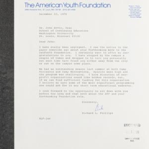 Letter from Richard L. Philips to Dr. John Ervin