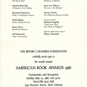 Invitation to the 1986 Annual American Book Awards