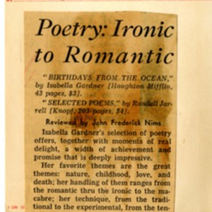 """Poetry: Ironic to Romantic"" by John Frederick Nims from the Chicago Tribune, April 3, 1955"