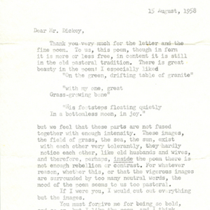 Typed letter, signed from Robert Bly to James Dickey, August 15, 1958