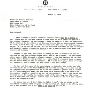 Typed letter, signed from Harris Dienstfrey to Raymond Federman, March 14, 1973.