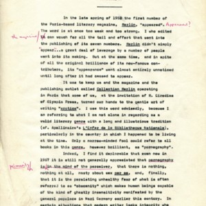 Untitled typescript by Alexander Trocchi discussing the writing of <em>Helen and Desire</em>