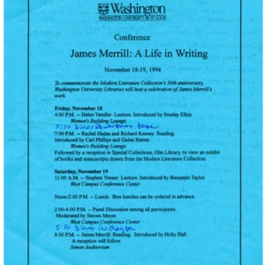 """James Merrill: A Life in Writing"""