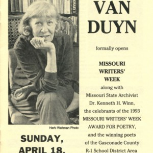 Program for Missouri Writers' Week program featuring Mona Van Duyn