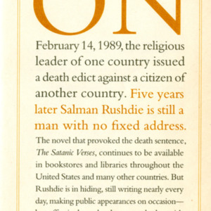 Pamphlet from the Rushdie Defense Committee, USA
