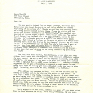 Typed letter, signed from Mona Van Duyn to James Merrill, July 29, 1964