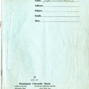 Washington University Greek final examination blue book by Tennesee Williams