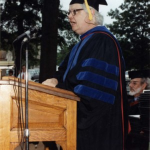 William H. Gass giving a commencement speech for the School of Architecture at Washington University, May 17, 1991