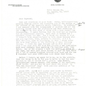 Typed letter, signed from Ronald Sukenick to Raymond Federman, January 29, 1972.